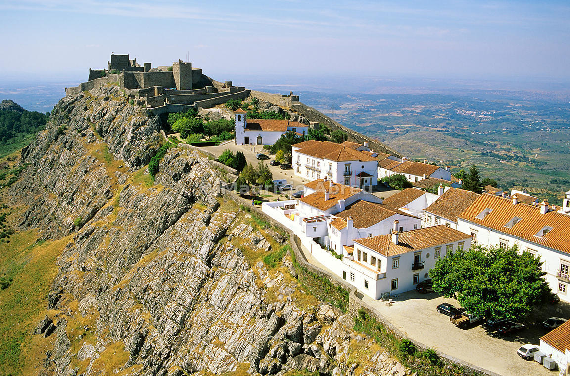 Aerial view of Marvão, a small historical village. Alentejo, Portugal